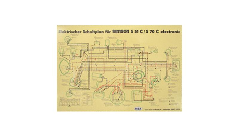Schaltplan Farbposter (40x57cm) 6V Elektronic für Simson S51C, S