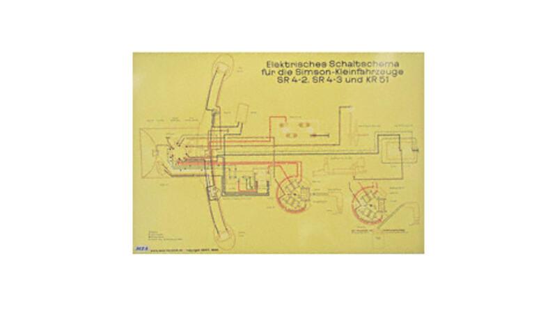 schaltplan farbposter 72x50cm 6v unterbrecher f r simson. Black Bedroom Furniture Sets. Home Design Ideas
