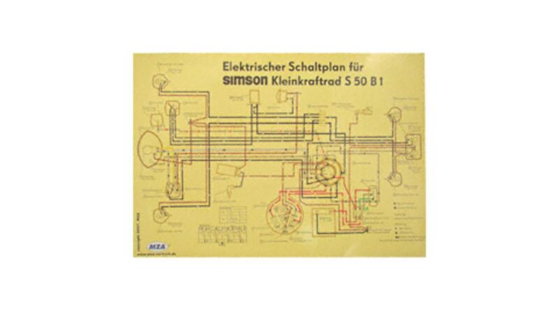 Schaltplan Farbposter (69x49cm) 6V Unterbrecher für Simson S50 B