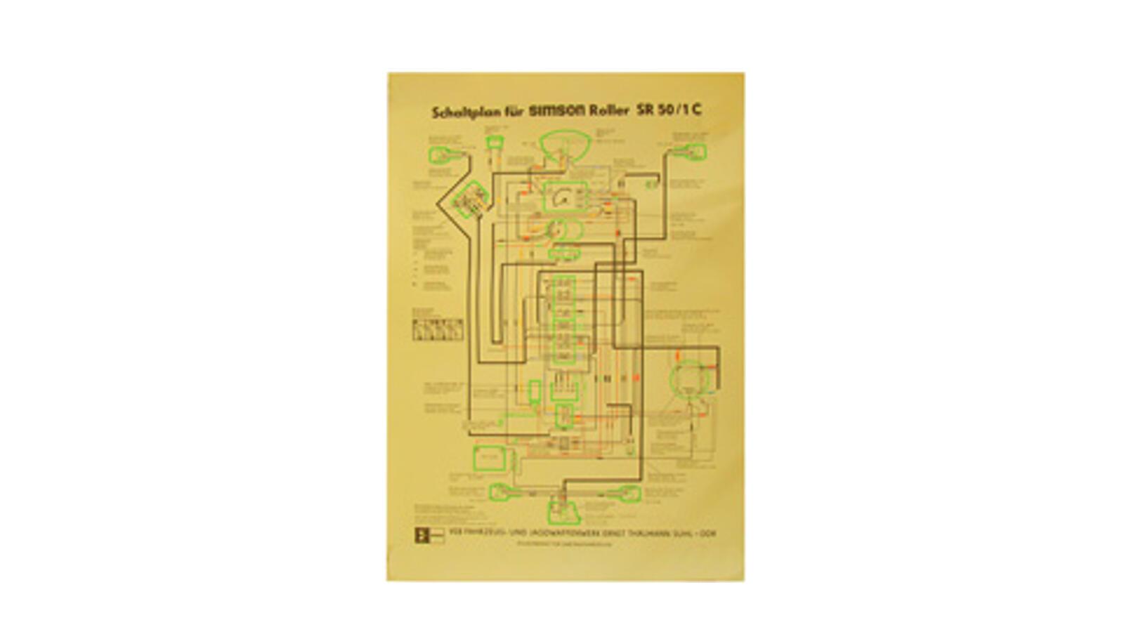 schaltplan farbposter 40x60cm 12v elektronic f r simson. Black Bedroom Furniture Sets. Home Design Ideas