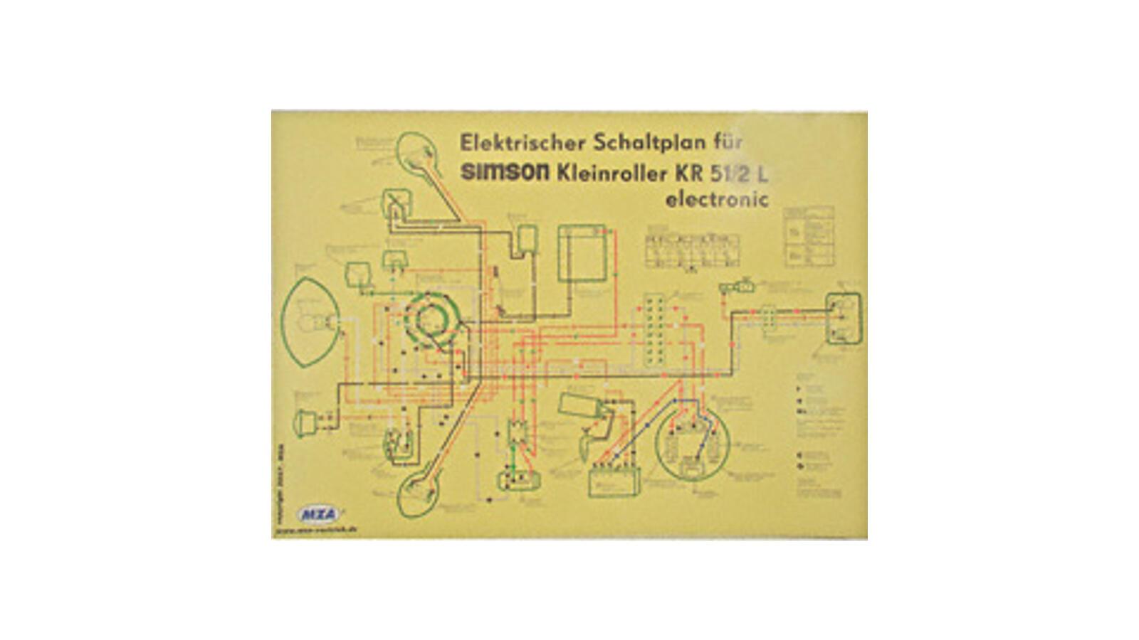 schaltplan farbposter 69x49cm 6v elektronic f r simson. Black Bedroom Furniture Sets. Home Design Ideas