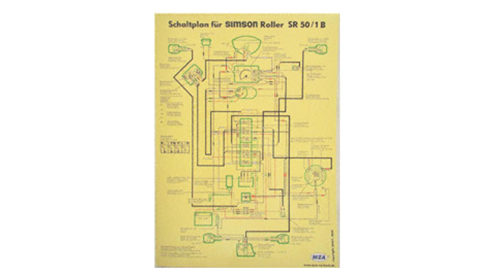 Schaltplan Farbposter (40x57cm) 12V Unterbrecher für Simson SR50