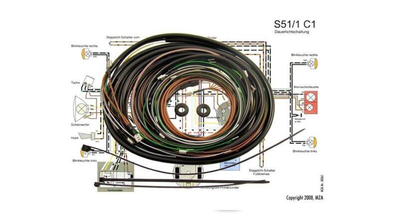 KWO Kabelbaum inkl. Schaltplan für Simson S51/1 C1 12V ...