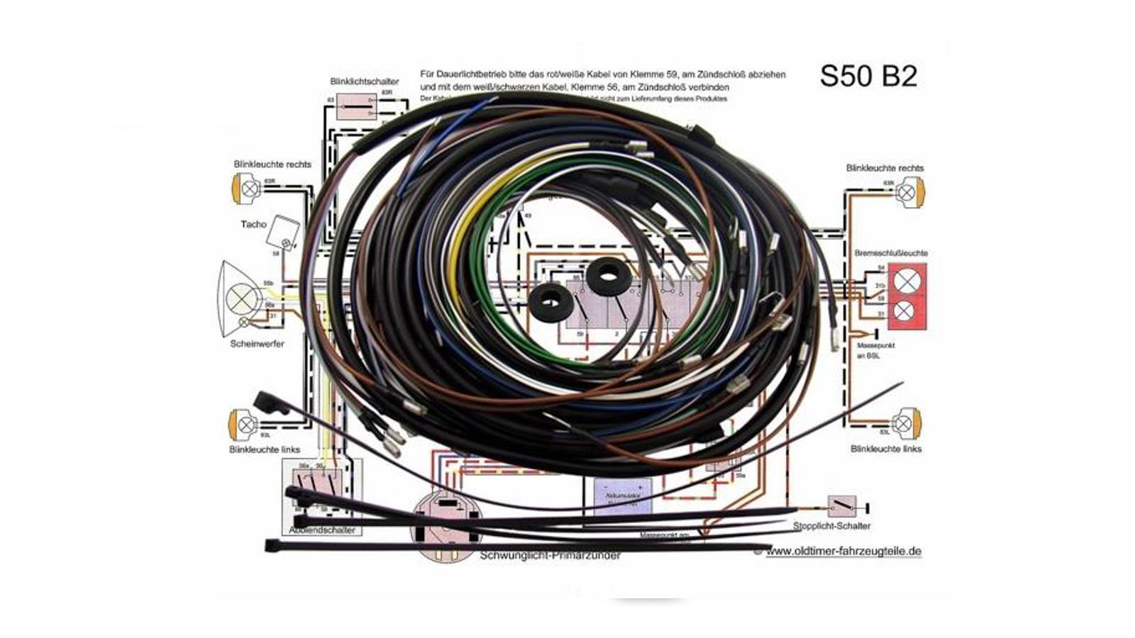 KWO Kabelbaum inkl. Schaltplan für Simson S50 B2 6V ...
