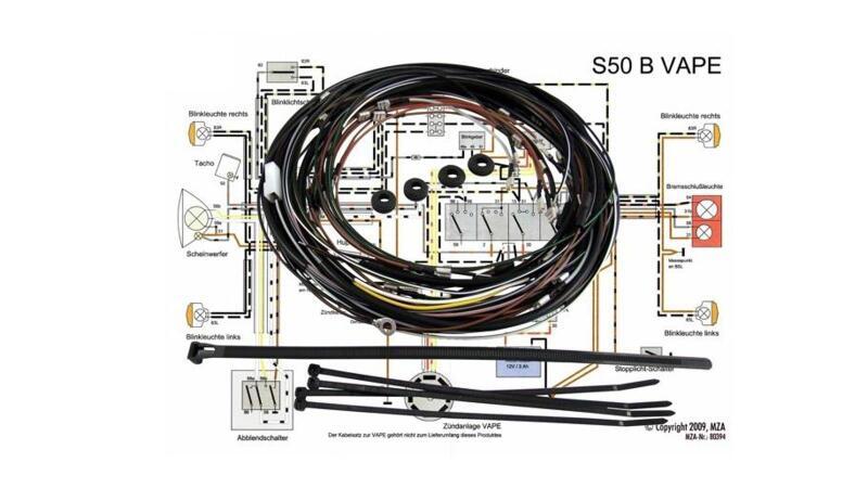 KWO Kabelbaum inkl. Schaltplan für Simson S50 B (VAPE-Zünda
