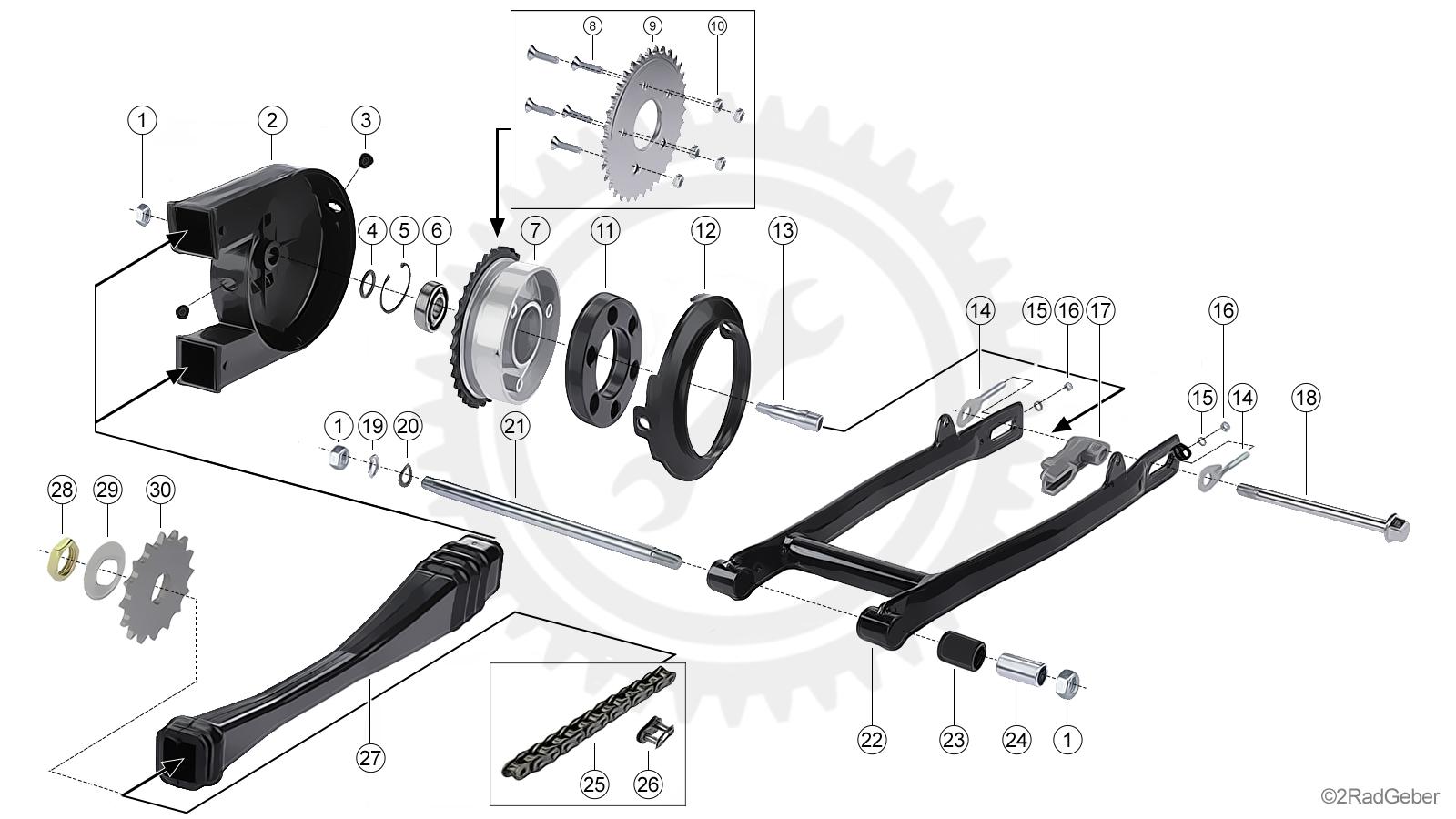 Kettenspanner an Schwinge für Kette S51 Star Set Tuning verstärkt passend Simson